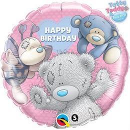 """Szülinapi fólia lufi 18"""" 45cm Teddy, maci, Happy Birthday, 20723, héliummal töltve"""