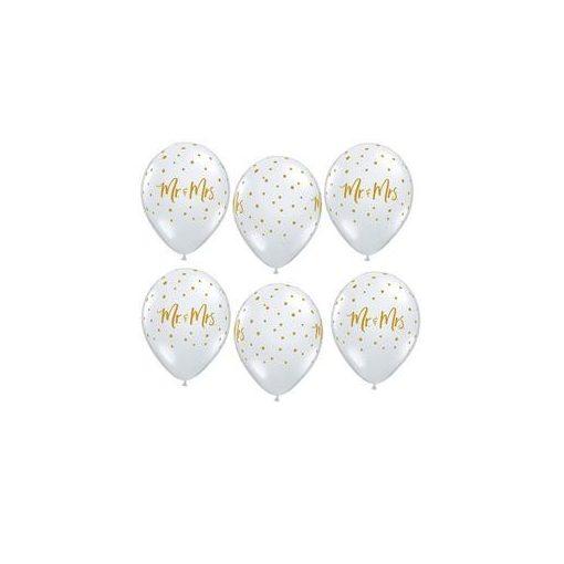 """QUALATEX 11"""" (28cm-es) -  Mr&Mrs, diamond clear, kristálytiszta, átlátszó, pöttyös, esküvői lufi, 57777bont"""