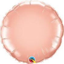 """Egyszínű kerek fólia lufi 18"""" 45cm Rose Gold, 57050, héliummal töltve"""
