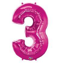 """Számos lufi 34"""" 86cm óriás rózsaszín fólia szám 3, Héliummal töltve, 30563"""