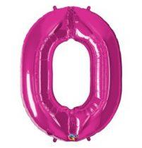 """Számos lufi 34"""" 86cm óriás rózsaszín fólia szám 0, Héliummal töltve, 30551"""