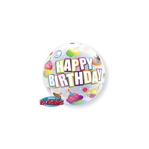 """Szülinapi Bubbles lufi 22"""" 56cm Héliummal töltve Happy Birthday, 30799"""