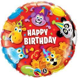 """Szülinapi fólia lufi 18"""" 45cm Happy Birthday, 14182, héliummal töltve"""