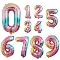 """Számos lufi 32"""" (70cm) fólia szám, számjegy """"0"""" levegővel tölthető, rainbow"""
