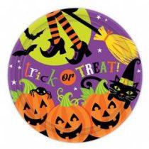Pumpkin Pals - Tökfejes Parti Tányér Halloween - 18cm, 8db