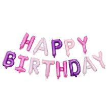 """Happy Birthday felirat, lila 16"""" fólia betűk, csak levegővel tölthető"""