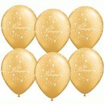 """Esküvői latex lufi 11"""" 28cm  6db, arany, Sok boldogságot!, q606359-7rp"""