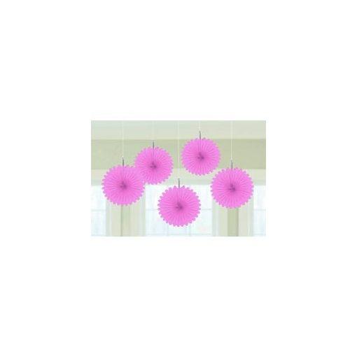 Függő dekoráció, legyező 15,2cm 5db, rózsaszín