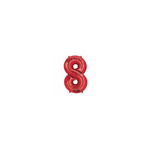 """Számos lufi 34"""" 86cm óriás piros fólia szám, számjegy 8-as Héliummal töltve"""