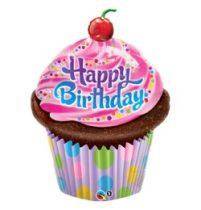 """Szülinapi lufi 35"""" 89cm óriás fólia Happy Birthday, cupcake, 16083, héliummal töltve"""