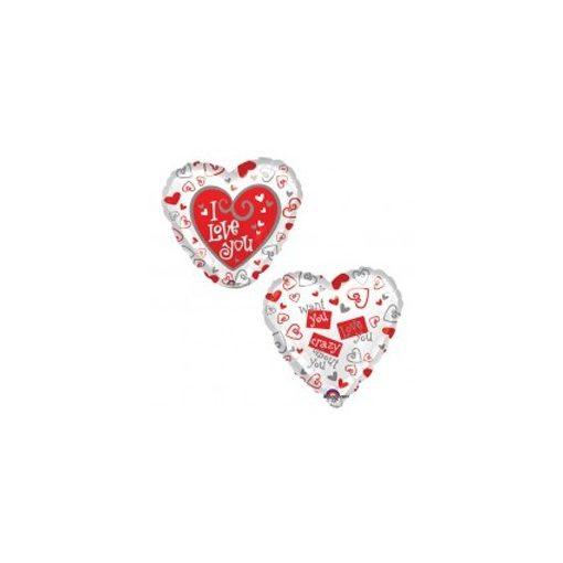 """Fólia lufi 18"""" 45cm """"I love you"""" szív, 34813, héliummal töltve"""
