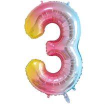 """Számos lufi 34"""" 86cm óriás Rainbow, színes, fólia szám, számjegy 3-as, Héliummal töltve"""