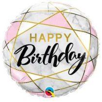 """Szülinapi fólia lufi 18"""" 45cm Happy Birthday, 88125, héliummal töltve"""
