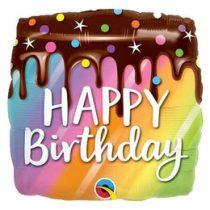 """Szülinapi fólia lufi 18"""" 45cm Happy Birthday torta, 10485, héliummal töltve"""
