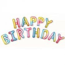 """Happy Birthday felirat, szivárvány 16"""" fólia betűk, csak levegővel tölthető"""