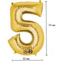 """Számos lufi 16"""" (40cm) fólia szám, számjegy 5 levegővel tölthető, arany, 3308501"""