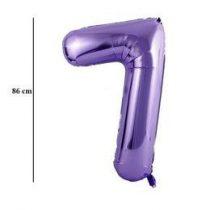 """Számos lufi 34"""" 86cm óriás lila fólia szám, számjegy 7-es, Héliummal töltve"""