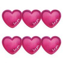 Papírtányér 18cm 6db szív, I love You, a9903113