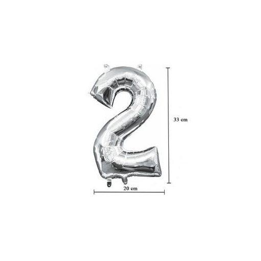 """Számos lufi 16"""" (40cm) fólia szám, számjegy 2 levegővel tölthető, ezüst, 3307801"""