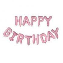 """Happy Birthday felirat, világosrózsaszín 16"""" fólia betűk, csak levegővel tölthető"""