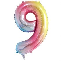 """Számos lufi 34"""" 86cm óriás Rainbow, színes, fólia szám, számjegy 9-es, Héliummal töltve"""