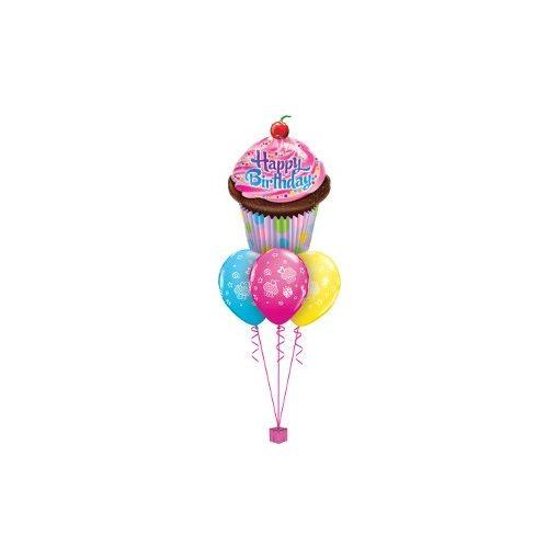 Héliumos luficsokor szülinapra, cupcake, Happy Birthday - INGYENES KISZÁLLÍTÁSSAL