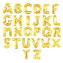 """Betű lufi 16"""" 40cm arany fólia betű, U betű, levegővel tölthető"""