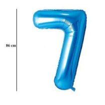 """Számos lufi 34"""" 86cm óriás kék fólia szám 7, Héliummal töltve, 30539"""