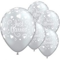 "Esküvői latex lufi 11"" 28cm 6db Just Married, 19136"