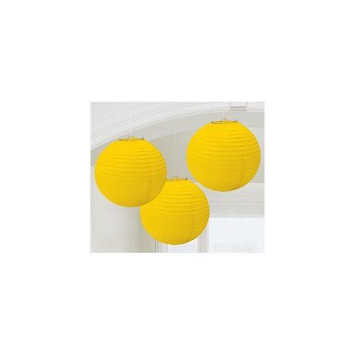 Lampion gömb 24cm 3db, sárga színben