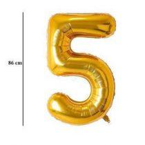 """Számos lufi 34"""" 86cm óriás arany fólia szám, számjegy 5-ös Héliummal töltve, 2825201"""