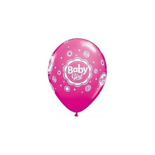 "Mintás latex lufi 11"" 28cm 6db Baby girl, 17799"