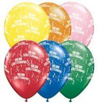 """Szülinapi latex lufi 11"""" 28cm 6db Boldog születésnapot!, standard színek, 48008strp"""