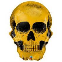 """Óriás fólia lufi 36"""" 90cm arany koponya, Halloween, 58135, héliummal töltve"""