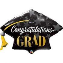 """Ballagási óriás fólia lufi 41"""" 104cm,  Congratulations Grad, 82656, héliummal töltve"""
