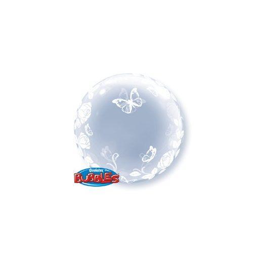 """Deco Bubble lufi 24"""" 61cm krisztálytiszta, átlátszó, pillangó, lepke mintával, Héliummal töltve, 29718"""