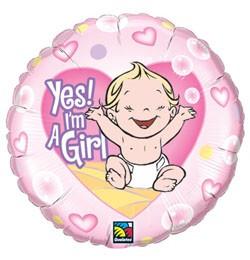 """Fólia lufi babaszületésre 18"""" 45cm - Yes, I'm a girl, 86890, héliummal töltve"""