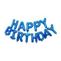 """Happy Birthday felirat, kék 16"""" fólia betűk, csak levegővel tölthető"""