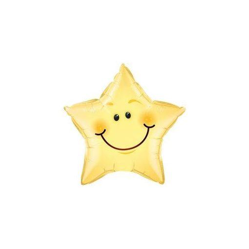 """Mosolygó csillag fólia lufi 20"""" 50cm, 55394, héliummal töltve"""