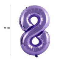 """Számos lufi 34"""" 86cm óriás lila fólia szám, számjegy 8-as, Héliummal töltve"""