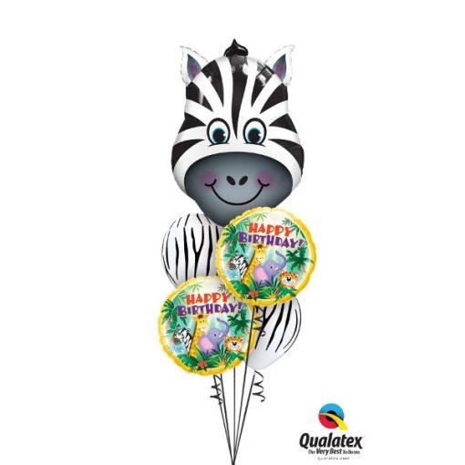 Héliumos luficsokor szülinapra, zebra - INGYENES KISZÁLLÍTÁSSAL