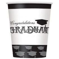 Papírpohár 270ml 8db Congrats Graduate,  ballagásra,  p45236