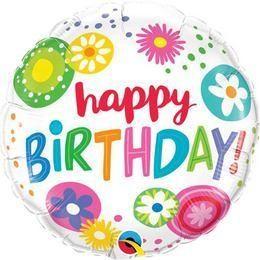 """Szülinapi fólia lufi 18"""" 45cm Happy Birthday, 49052, héliummal töltve"""