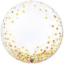 """Deco Bubble lufi 24"""" 61cm krisztálytiszta, átlátszó, arany konfetti mintával, Héliummal töltve, 89727"""