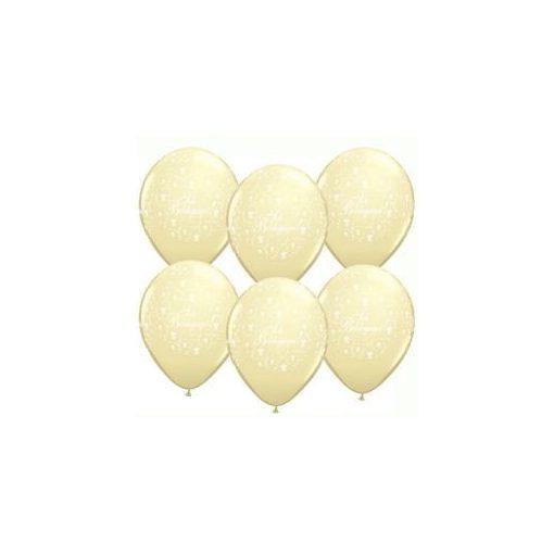 """QUALATEX 11"""" (28cm-es) -  25db/csomag - Sok boldogságot!, ivory, elefántcsont, ekrü, esküvői lufi, q606359-8"""