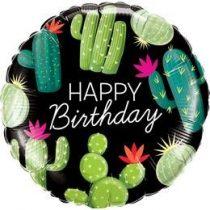 """Szülinapi fólia lufi 18"""" 45cm, kaktusz, Happy Birthday, 78662, héliummal töltve"""
