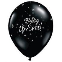 """Szilveszter latex lufi 11"""" 28cm  6db fekete Boldog Új Évet szilveszteri lufi, 32902"""