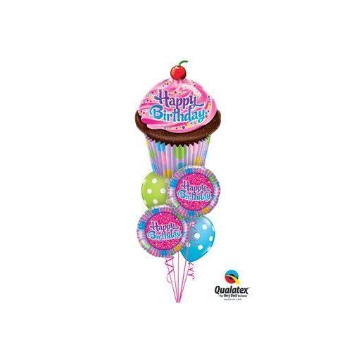 Héliumos luficsokor szülinapra, cupcake - INGYENES KISZÁLLÍTÁSSAL