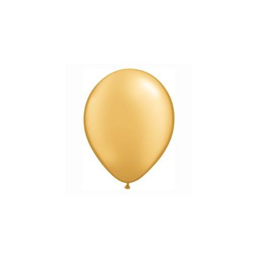 "QUALATEX 11"" (28cm-es) Latex léggömb, metallic gold, arany lufi"