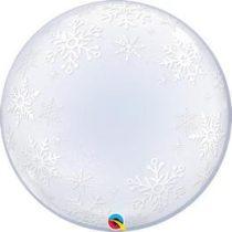 """Deco Bubble lufi 24"""" 61cm krisztálytiszta, átlátszó, fehér hópehely, Snowflake mintával, Héliummal töltve, 52005"""